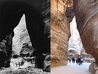 Petra Siq in 1947 (left) compared with the same location in 2013