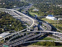 The Interstate 10/U.S. Route 90 and Interstate 45 stack interchange northwest of Downtown Houston