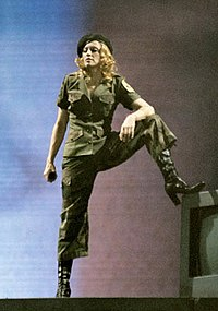 "Madonna performing ""American Life"" during military segment of the Re-Invention World Tour, 2004"