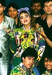 Madonna with her crew on The Virgin Tour, 1985