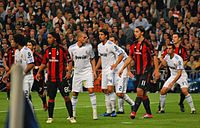 A.C. Milan's Ronaldinho and Zlatan Ibrahimović surrounded by Real Madrid defenders during a Champions League group stage game in 2010
