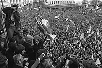 Johan Cruyff holding the European Cup during celebrations in Amsterdam following Ajax's 1972 triumph