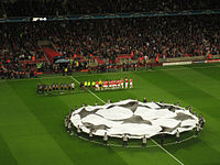 """The Champions League anthem is played before the start of each match as the two teams are lined up while the Champions League """"starball"""" logo is displayed in the centre circle."""