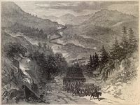 Maj. Gen. Ambrose Burnside's Army of the Ohio passing through Cumberland Gap to occupy eastern Tennessee.