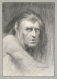 A charcoal drawing by Charles Buchel of Herbert Beerbohm Tree as Caliban in the 1904 production.