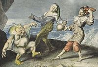 Caliban, Stephano and Trinculo dancing, detail of a painting by Johann Heinrich Ramberg