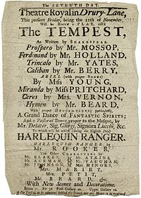 A playbill for a 1757 production of The Tempest at the Drury Lane Theatre Royal