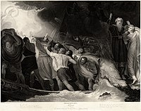 The shipwreck in Act I, Scene 1, in a 1797 engraving by Benjamin Smith after a painting by George Romney