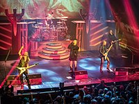Judas Priest performing at the Warfield Theatre in San Francisco on 19 April 2018, as part of the Firepower World Tour, which featured Andy Sneap filling in for Glenn Tipton on guitar.
