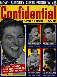 """Confidential cover July 2, 1957, """"Why Liberace's Theme Song Should Be 'Mad About the Boy!'"""""""