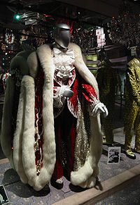 Liberace's early-1980s Christmas costume, worn at the Las Vegas Hilton and Radio City Music Hall: Designed by Michael Travis, with fur design by Anna Nateece, the costume was one of many at the Liberace Museum.