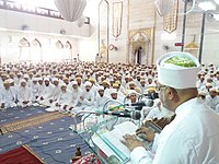 An assembly-majlis in a mosque during Moharram where Da'i delivers an extensive lecture with the mourning on Imam Husain
