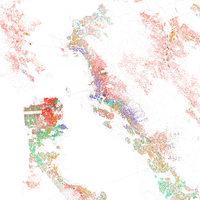Map of racial distribution in San Francisco Bay Area, 2010 U.S. Census. Each dot is 25 people: White, Black, Asian , Hispanic , or Other (yellow)