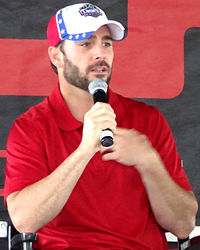 Jimmie Johnson (pictured in 2012) led a race-high 134 laps to secure his 56th career victory and the 200th win for Hendrick Motorsports in NASCAR.
