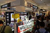 Lancome counters in Lane Crawford after the protest
