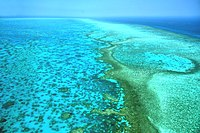 The Great Barrier Reef, which extends along most of Queensland's Coral Sea coastline