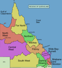Commonly designated regions of Queensland, with Central Queensland divided into Mackay and Fitzroy subregions