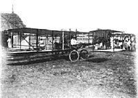 Giacomo D'Angelis and his biplane in 1910, the first flight ever in Asia