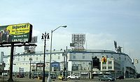 Tiger Stadium, home of the Detroit Tigers from 1912 to 1999 at the corner of Michigan and Trumbull Avenues in the Corktown district of Detroit