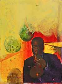 Louis Armstrong (2002), hand-colored etching by Adi Holzer