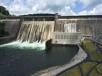 Norris Dam, a hydroelectric dam operated by the Tennessee Valley Authority that was among the first projects the TVA performed as part of the New Deal in 1933.