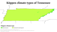 A map of Köppen climate types in Tennessee