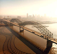 The Hernando de Soto Bridge spans the Mississippi River at Memphis.