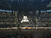 Adele at Wembley Stadium in June 2017. Adele's concert on 28 June was attended by 98,000 fans, a stadium record for a UK music event.