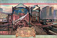 Cutaway drawing, illustrating the use of ramps, express and suburban tracks, and the viaduct