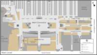 Floor plan of the main level of the terminal