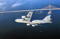 A KC-135R stationed at MacDill flying over Tampa Bay