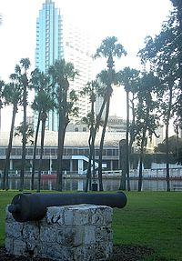 A surviving Ft. Brooke cannon on the University of Tampa campus