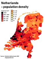 Population density in the Netherlands by municipality. The largest urban area, the Randstad is clearly visible along the west coast.