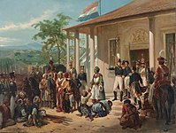 The submission of Diponegoro to General De Kock at the end of the Java War in 1830. Painting by Nicolaas Pieneman