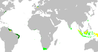 Map of the Dutch colonial empire. Light green: territories administered by or originating from territories administered by the Dutch East India Company; dark green: the Dutch West India Company. In yellow are the territories occupied later, during the 19th century.