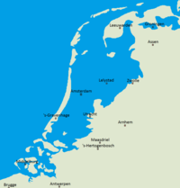 Map illustrating areas of the Netherlands below sea level