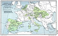 Map of the Habsburg dominions. From 1556 the dynasty's lands in the Low Countries were retained by the Spanish Habsburgs.