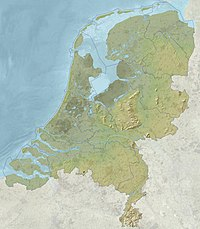 Relief map of the European Netherlands