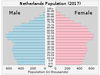 Population pyramid of the Netherlands in 2017
