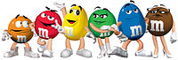 """The six """"spokescandies"""" for M&M's since 2012"""