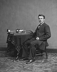 Thomas Edison and his early phonograph. Edison was credited for inventing many devices, including the lightbulb