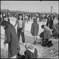 Internment of Japanese Americans forced relocation and incarceration in camps in the interior of the country of between 110,000 and 120,000 people of Japanese ancestry who lived on the Pacific coast. Sixty-two percent of the internees were United States citizens