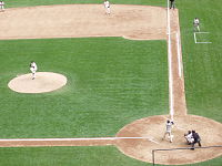 A typical Baseball diamond as seen from the stadium
