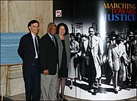 U.S. circuit judges Robert A. Katzmann, Damon J. Keith, and Sonia Sotomayor at a 2004 exhibit on the Fourteenth Amendment, Thurgood Marshall, and Brown v. Board of Education