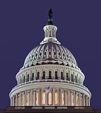 The iconic dome of the Capitol Building, home to the United States Congress