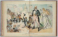 American children of many ethnic backgrounds celebrate noisily in a 1902 Puck cartoon