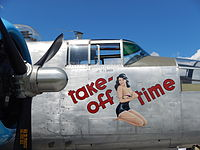 Pin-up girl nose art on the restored World War II B-25J aircraft Take-off Time