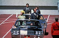 Queen Elizabeth II, Prince Philip, Prince Andrew, and Prince Edward—at the opening of the 1978 Commonwealth Games in Edmonton, Alberta
