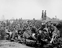 Fredericksburg, Virginia; May 1863. Soldiers in the trenches. Trench warfare would appear again more infamously in World War I