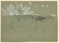 """Union Army 9th Corps attacking Fort Mahone aka """"Fort Damanation"""" sketch by Alfred Ward."""